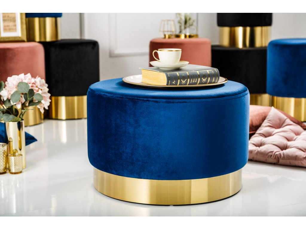 Stylový taburet - Baroko, modrý