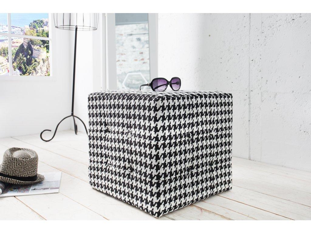 Moderní taburet - Giuseppe, černo bílý