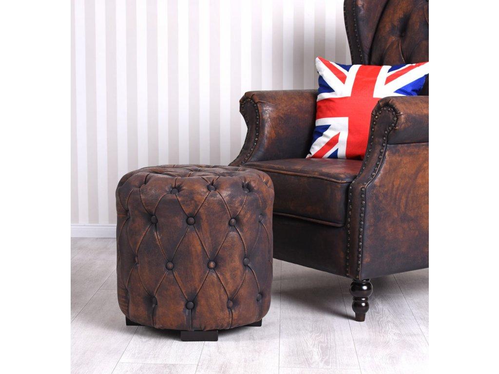 Retro Sitzwürfel Hocker Chesterfield braun Pouf Vintage Fusshocker