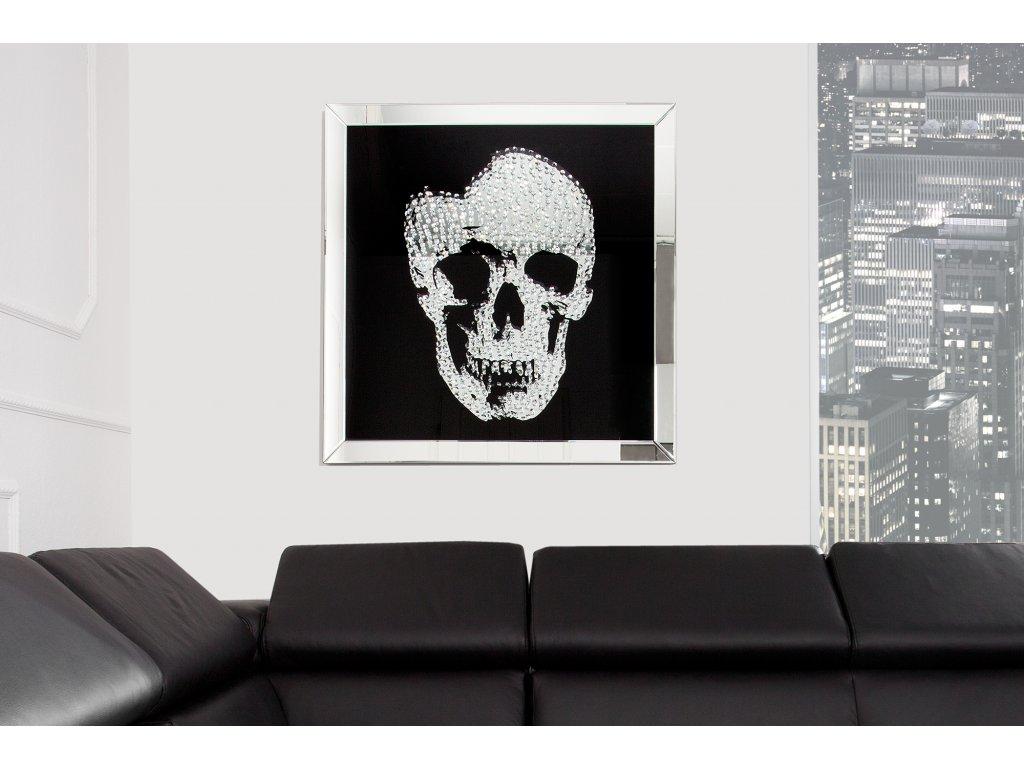 Skleněný obraz - lebka, 80 x 80 cm