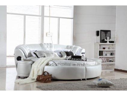 Kulatá kožená postel - Genoa