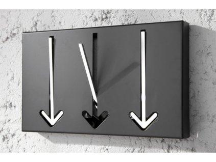 Moderní nástěnný věšák - Šipka, velký černý