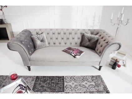 Luxusní pohovka - Belinda,stříbrno-šedá