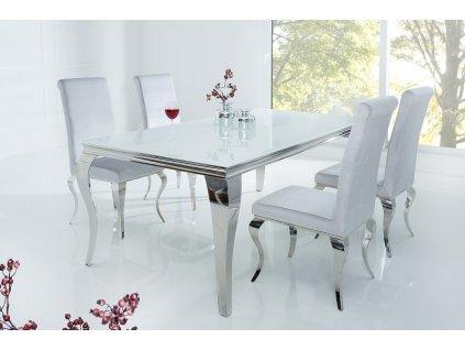 Moderní jídelní stůl - Barocco, stříbrný, malý