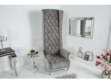 Královské křeslo - štříbrno-šedé