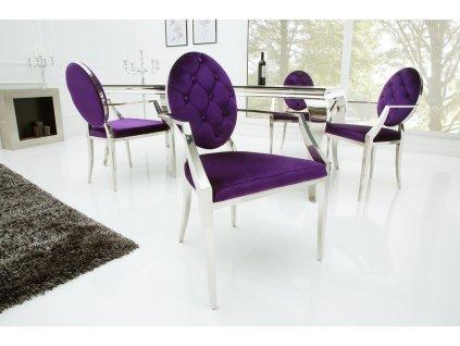 Designová židle - barocco,lila s opěrkami