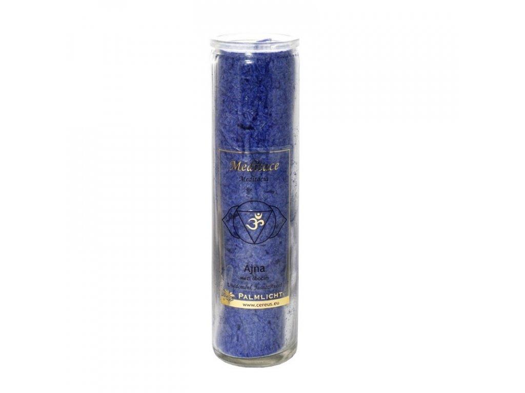 Čakrová svíce královská modř (indigo) pro 6. čakru s vůní levandule, heřmánku a jedle
