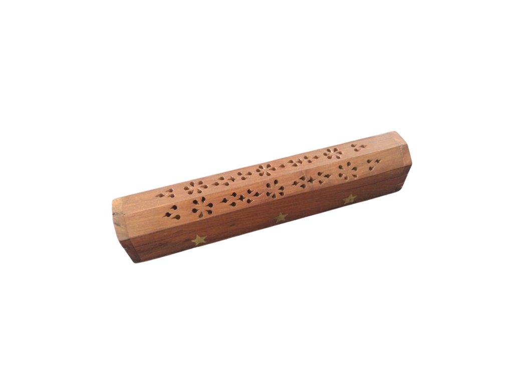 Dřevěná truhlička a stojánek na vonné tyčinky s hvězdami (2)