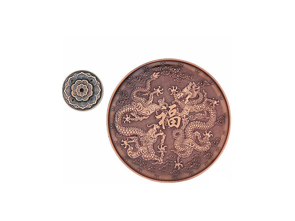 Stojánek se symboly draků s barvou mědi