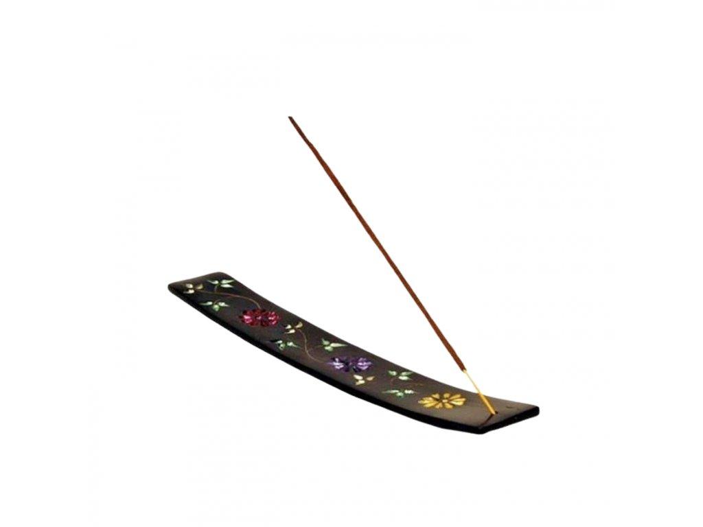 Stojánek na vonné tyčinky z mastku zdobený květinami
