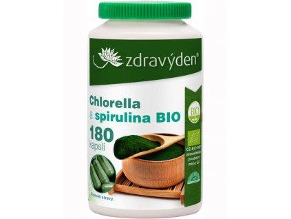 Chlorella a spirulina BIO 180 kapslí