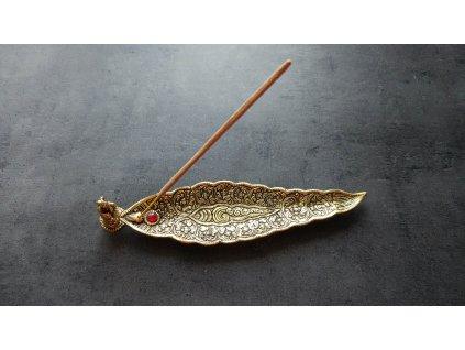Stojánek ve tvaru listu s Ganéšou na vonné tyčinky 1