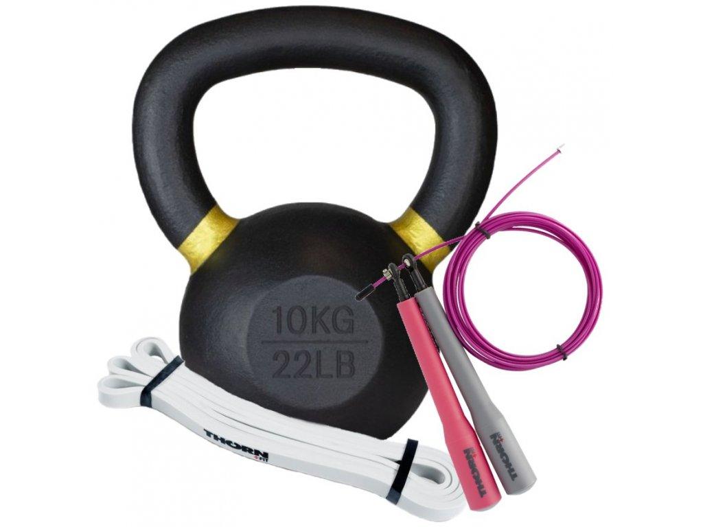 Dámsky letný balíček pre lepšiu formu, set na cvičenie, kettlebell 10kg, švihadlo dámske, expander super mini, THORNFIT , CFshop.sk