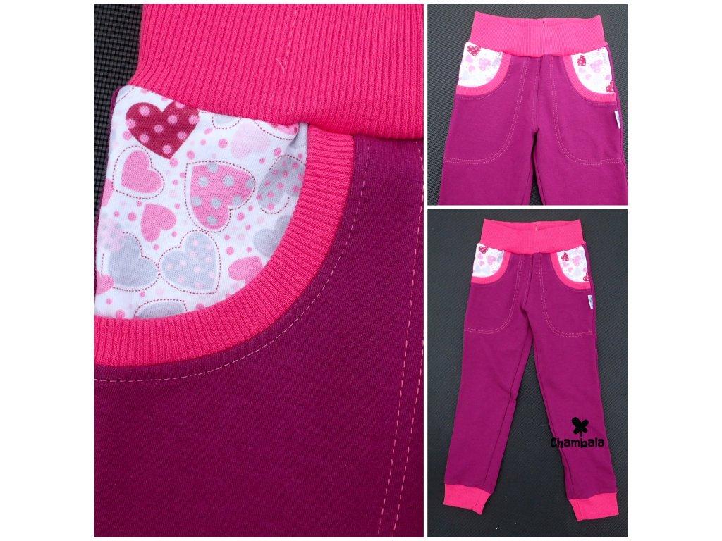 CHINO tepláky, fuchsie-růžová, dívčí, rostoucí