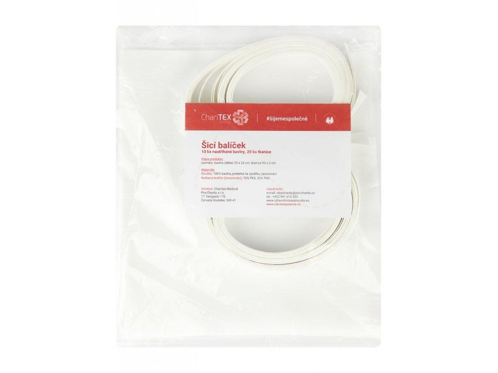 Šicí balíček roušek 10 ks set - stříhaná bavlna + 20 ks tkanice