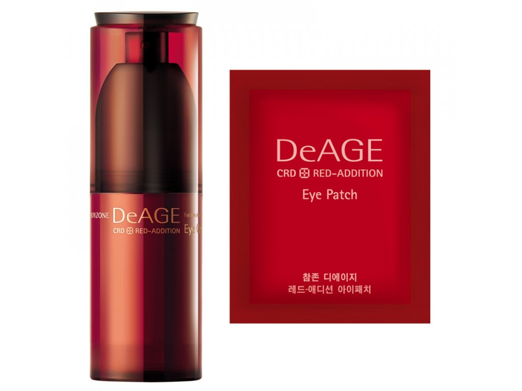 CHARMZONE DeAGE CRD Red-Addition Eye Cream Set - Revitalizační oční krém 30ml + esenční oční masky 15 párů