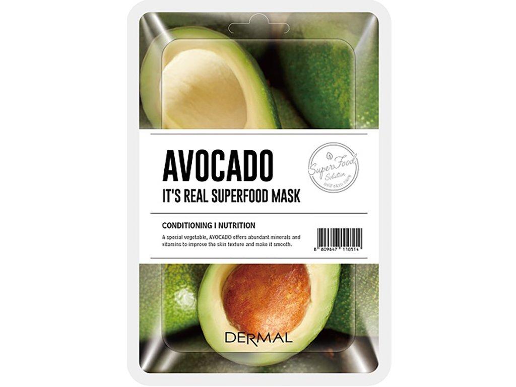 Dermal Korea It's Real Superfood Mask - Avocado | Esenční maska ze Superpotravin - Avokádo | 25g