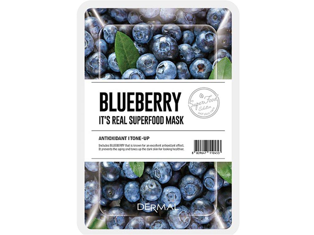 Dermal Korea It's Real Superfood Mask - Blueberry   Esenční maska ze Superpotravin - Borůvky   25g