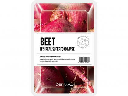 Dermal Korea It's Real Superfood Mask - Beet | Esenční maska ze Superpotravin - Červená řepa | 25g
