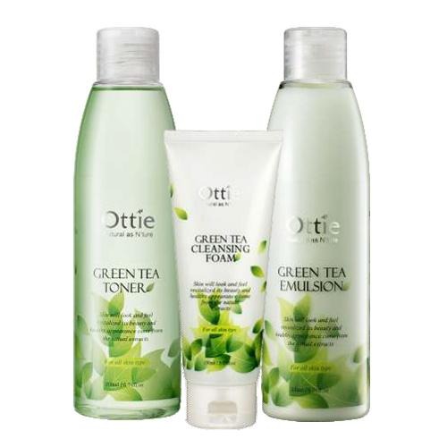 Ottie Green Tea pleťová tonizační voda 200ml + Pleťová emulze 200ml + Čistící pleťová pěna 150ml
