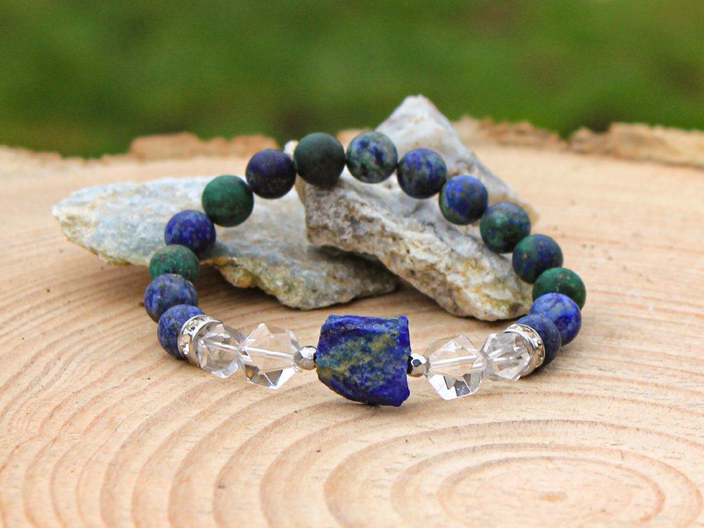 Náramek křišťál s lapisem lazuli SOULAD