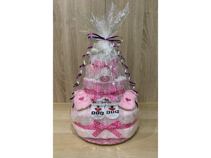 Plenkový dort - Třípatrový (růžový)
