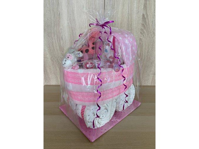 Plenkový dort Kočárek (růžový)
