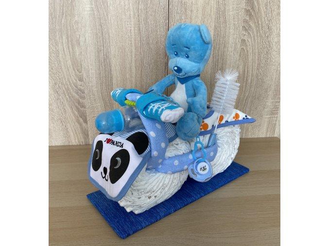 Plenkový dort motorka modrá+text