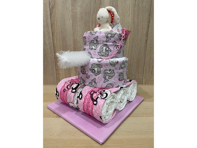 Plenkový dort Tank růžový