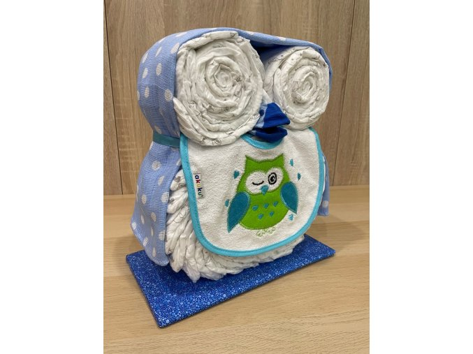 Plenkový dort Sova (modrý)
