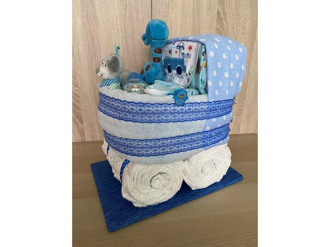 Plenkový dort Kočárek (modrý)