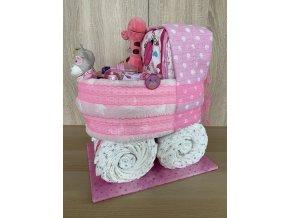 Plenkový dort Kočárek růžový