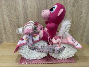 Plenkový dort motorka růžový+text2