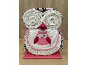 Plenkový dort Sova (růžový)