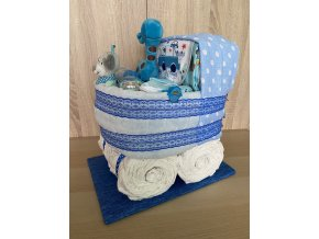 Plenkový dort Kočárek modrý