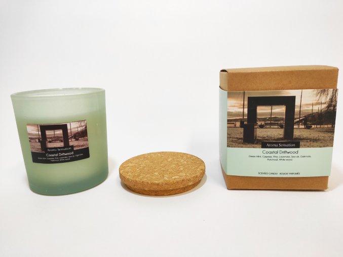 Vonná svíčka ve skle  POBŘEŽNÍ NAPLAVENÉ DŘÍVÍ, ve skle 75 x 80mm s korkovým víčkem