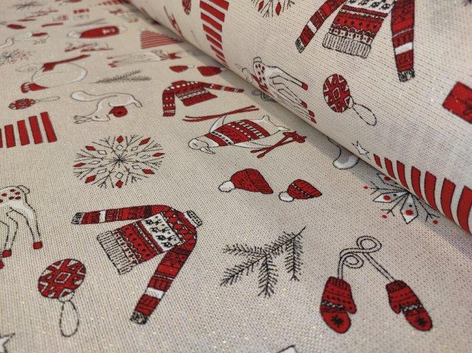 Dekorační látka vánoční FROSTY 31 červený š. 140 cm