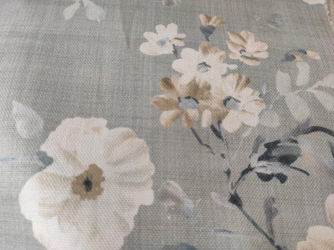 Dekorační látka FLORY MODRÁ 06 š. 140 cm květy