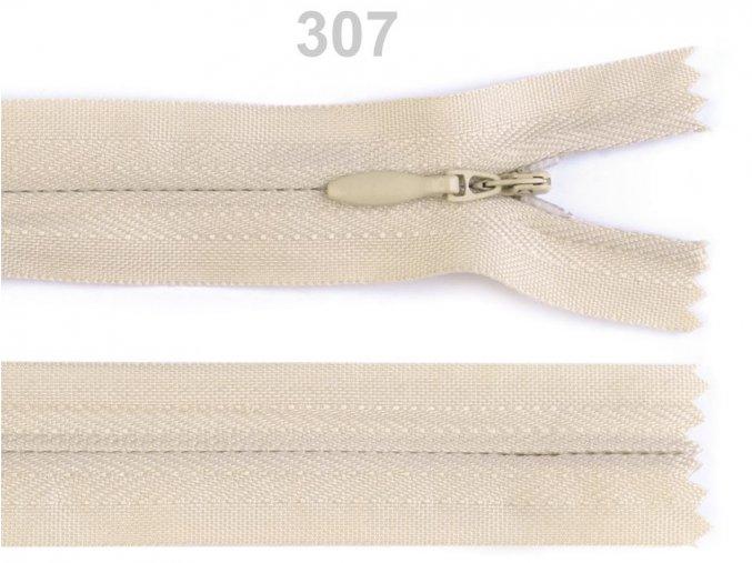 Spirálový zip skrytý délka 45 cm b. 307 Biscotti