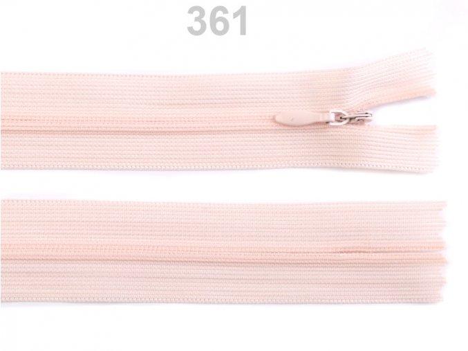 Spirálový zip skrytý  délka 55 cm b. 361 Creampuff , podklad dederon