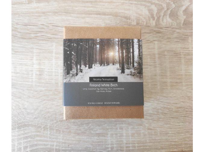 Vonná svíčka ve skle  FINSKÁ BÍLÁ BŘÍZA 75 x 80 mm s korkovým víčkem