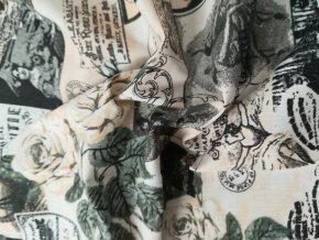Bavlněná látka PARIS nostalgie, šíře 140 cm