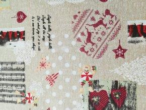 Bavlněná vánoční látka MÉZI, šíře 140 cm