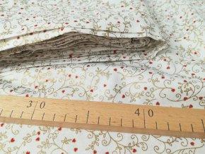 Bavlněná vánoční látka BETY větvičky na bílé, šíře 140