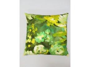 Povlak na polštář GARONA 45 cm x 45 cm, zelené květy