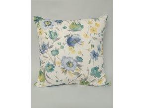 Povlak na polštář JARDINS  45 cm x 45 cm, modrý květ, VV