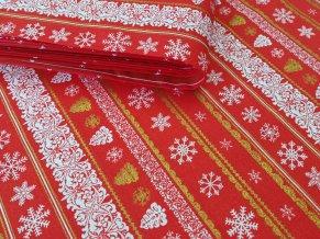 Bavlněná vánoční látka VLOČKY BÍLÉ, zlaté sromky na červené, šíře 140 cm