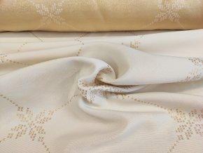 Dekorační látka vánoční NIKOLAS 01 bílo zlatá š. 185 cm