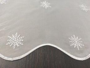 Záclona Vánoční PIHE 42-  vitrážka vyšívaná stříbrná, v. 60 cm