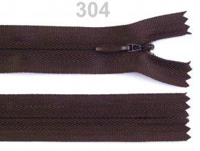 Spirálový zip skrytý  délka 50 cm b.304 Chocolate Brown